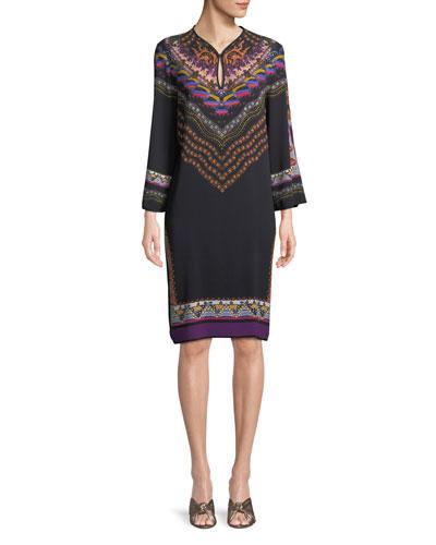 Long-Sleeve Floral-Print Shift Dress