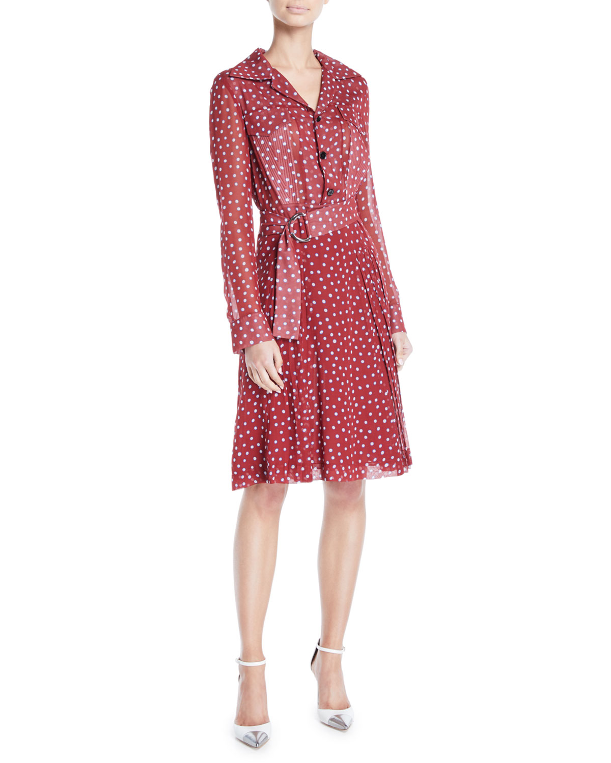 Long-Sleeve Button-Front Belted Dot-Print Silk Shirtdress