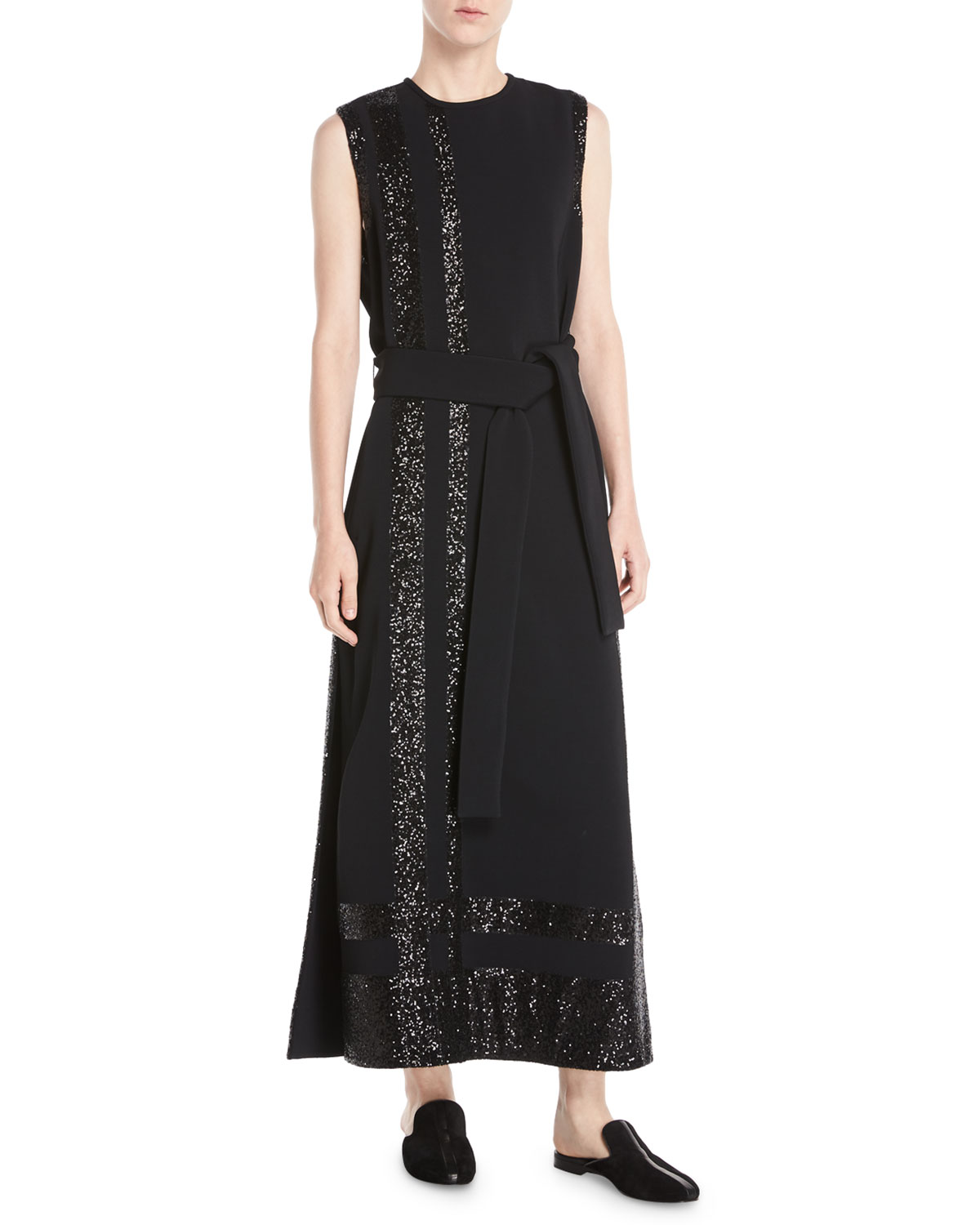 Sleeveless Long Paneled Sequin A-Line Crepe Dress w/ Self-Belt