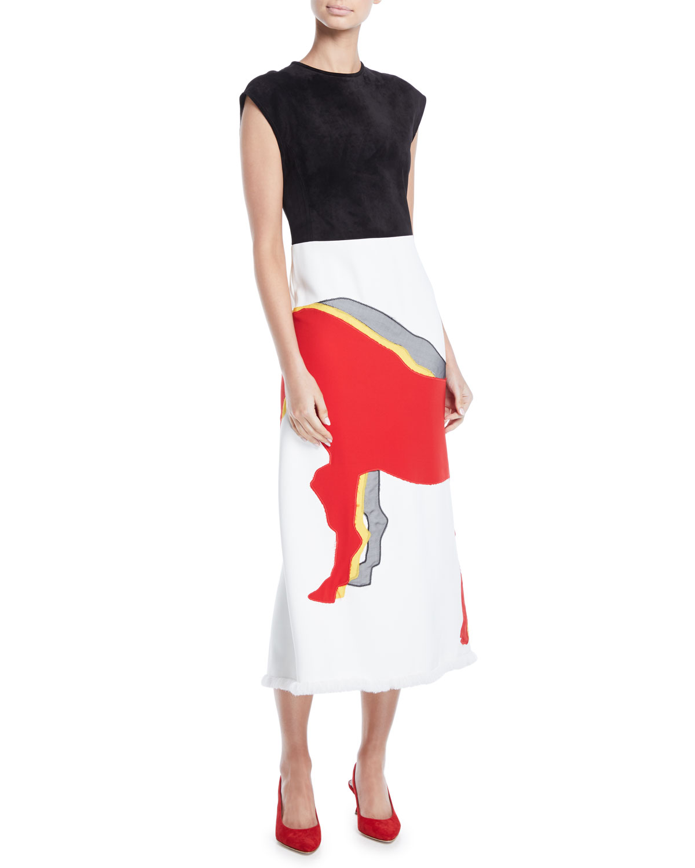 Cap-Sleeve Suede Top Horse-Applique Skirt Midi Sheath Dress