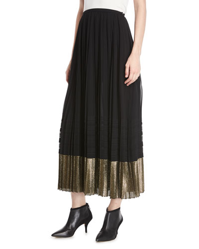 A-Line Pleated Plisse Long Skirt w/ Metallic Hem