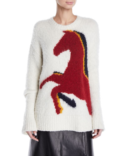 Crewneck Long-Sleeve Horse-Intarsia Wool-Alpaca Sweater