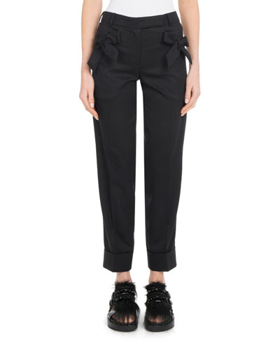 Bow-Detail Straight-Leg Slim Stretch-Wool Cropped Pants