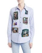 Libertine Long-Sleeve Button-Front Patchwork Classic Cotton Shirt