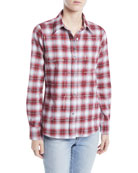 Libertine Button-Front Long-Sleeve Classic Beaded Plaid Cotton