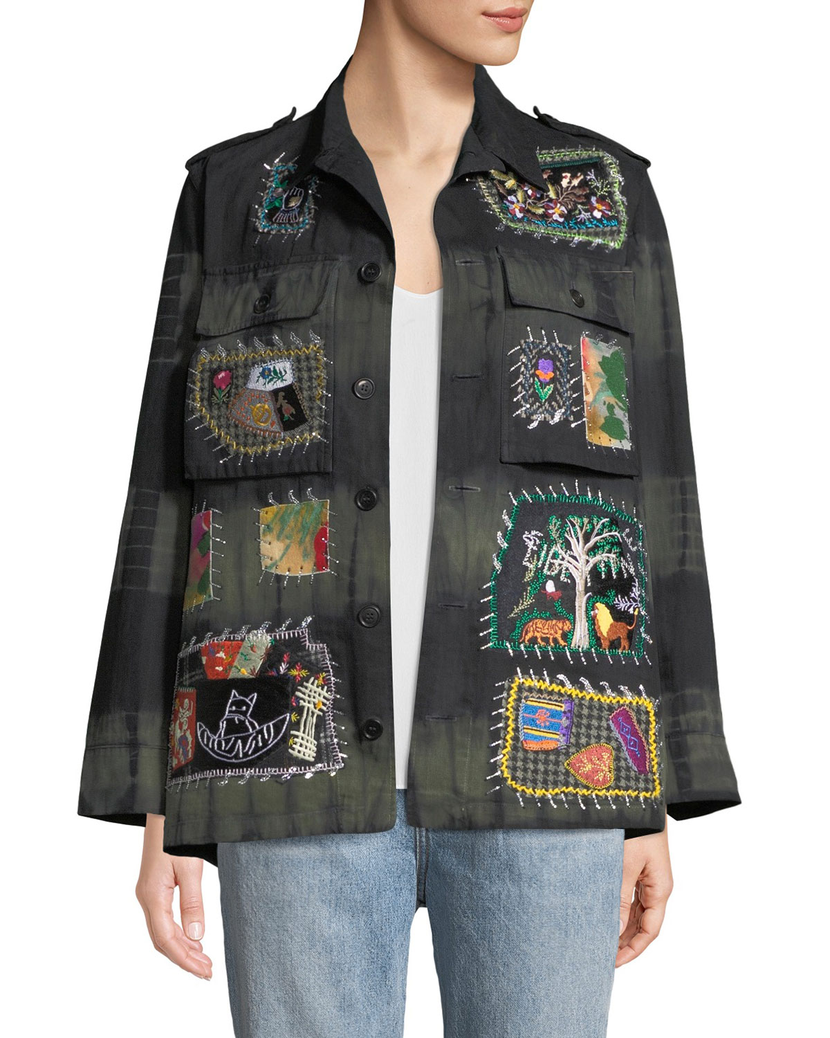 LIBERTINE Button-Front Embroidered-Patchwork Army Jacket in Multi