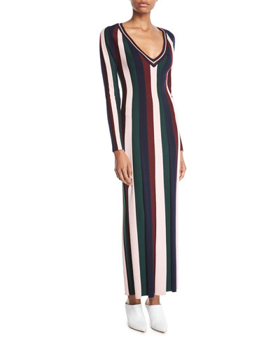 Almeida V-Neck Long-Sleeve Vertical Stripe Ankle-Length Wool Dress