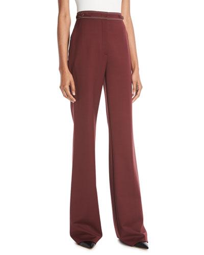 Vesta High-Waist Wide-Leg Wool Pants w/ Contrast Topstitching