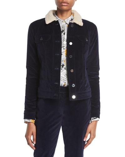 Button-Front Stretch-Corduroy Jacket w/ Teddy Cashmere Lining