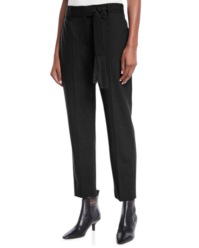 Lightweight Wool-Blend Relaxed-Leg Pants w/ Monili Belt