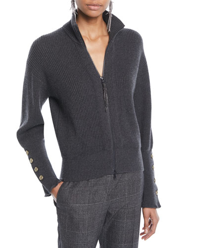 Mock-Neck Zip-Front Ribbed Cashmere Jacket w/ Brass Buttons on Cuff