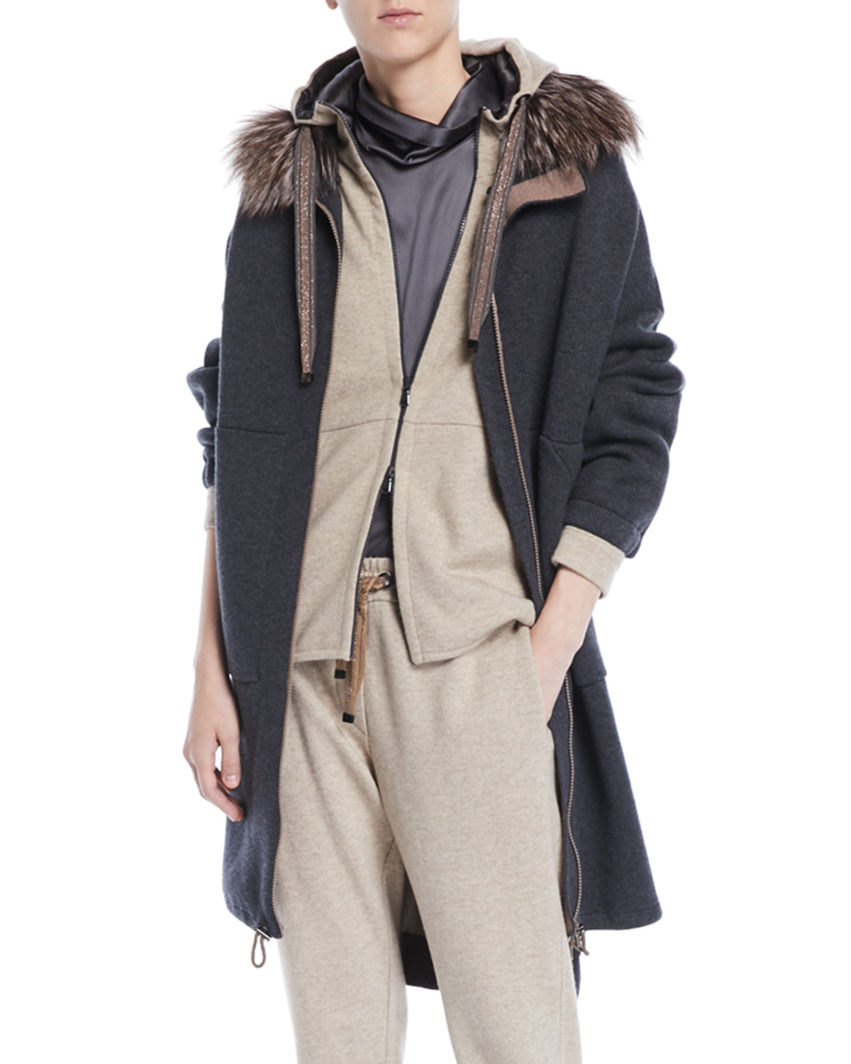 Double-Face Cashmere Long Zip-Front Coat w/ Fox Fur Trim