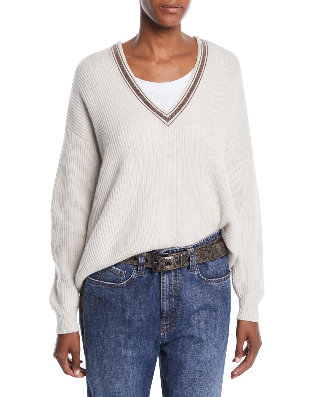 V-Neck Bead-Embellished Ribbed Cashmere Jumper, White