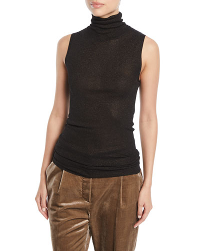 3a2214e32f60 Quick Look. Brunello Cucinelli · Turtleneck Sleeveless Metallic-Knit Top.  Available in Black