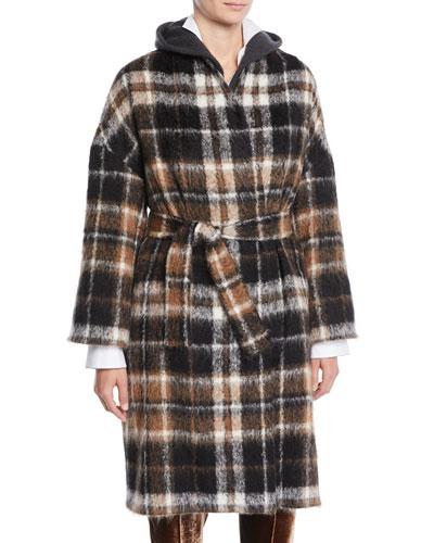 Plaid Alpaca-Blend Coat w/ Belted Waist