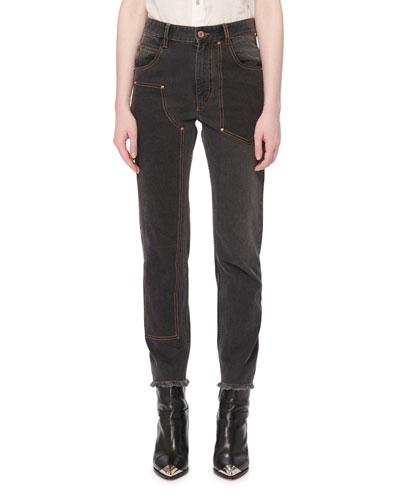 Orrick High-Rise Skinny-Leg Jeans w/ Fray Hem