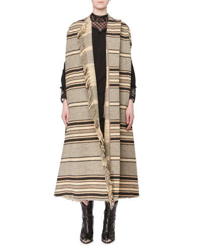 Wild West One-Button Long Striped Wool Blanket Coat