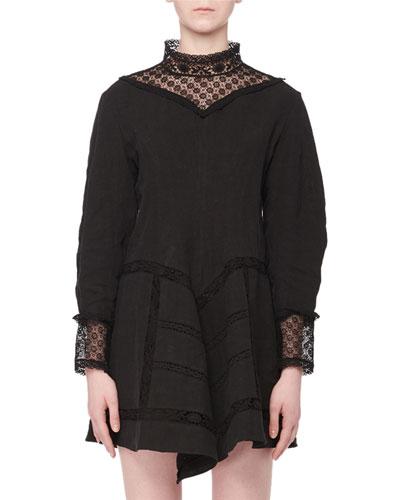 Loane Mock-Neck Long-Sleeve Lace Linen Mini Dress