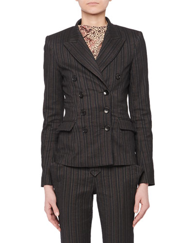 Kyla Double-Breasted Fitted Pinstripe Blazer