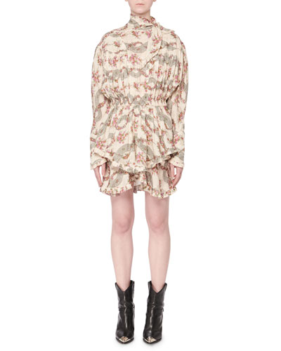 Josephine Antique Floral-Print Tie-Neck Long-Sleeve Dress