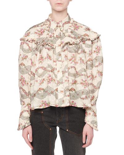 Janelle Long-Sleeve Button-Front Ruffle-Yoke Antique Floral-Print Shirt