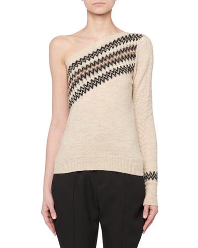 One-Shoulder Wild West Intarsia Wool-Blend Sweater