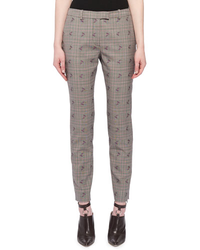 Henri Floral-Embroidered Prince of Wales Check Trousers
