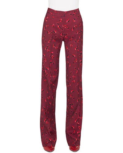 Mikka Floral-Print Straight-Leg Wool Trousers
