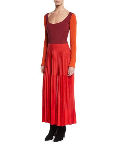 Scoop-Neck Long-Sleeve Knit-Bodice Pleated Long Dress