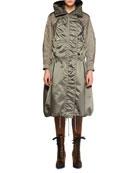 Chloe Belted Shiny Nylon Canvas Knee-Length Coat w/