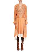 Chloe Long-Sleeve Silk Mousseline Lace-Inset A-Line Dress