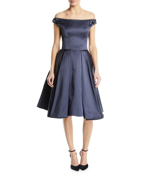 Zac Posen Off-the-Shoulder Beaded-Strap Fit-and-Flare Cocktail Dress