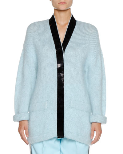 V-Neck Long-Sleeve Wool-Mohair Cardigan w/ Contrast Trim