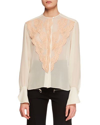 Long-Sleeve Lace-Front Chiffon Blouse