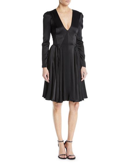 Zac Posen V-Neck Long-Sleeve Fit-and-Flare Satin Crepe Stripe Cocktail Dress