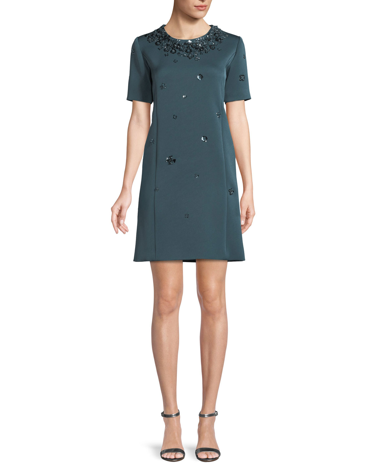 ZAC POSEN Cap-Sleeve A-Line Beaded-Embroidered Short Crepe Dress in Blue