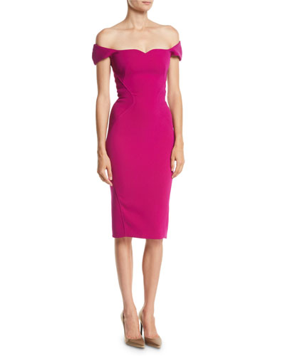 Sweetheart Off-the-Shoulder Cap-Sleeve Fitted Knee-Length Cocktail Dress