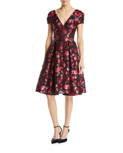 V-Neck Cap-Sleeve Fit-and-Flare Floral-Jacquard Cocktail Dress