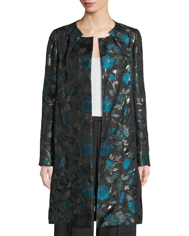 Open-Front Metallic Floral-Jacquard Coat, Green Pattern