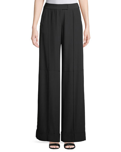Wide-Leg Satin Crepe Pants