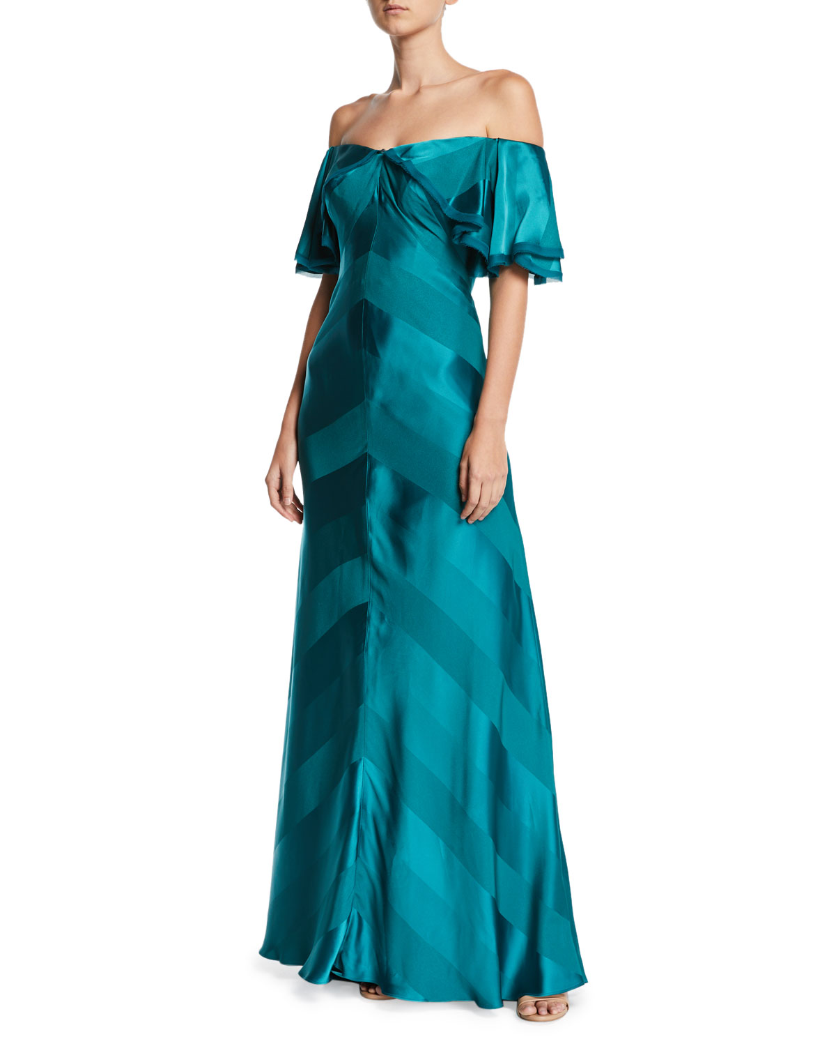 Off-the-Shoulder Draped-Sleeve Tonal-Striped Satin Evening Gown
