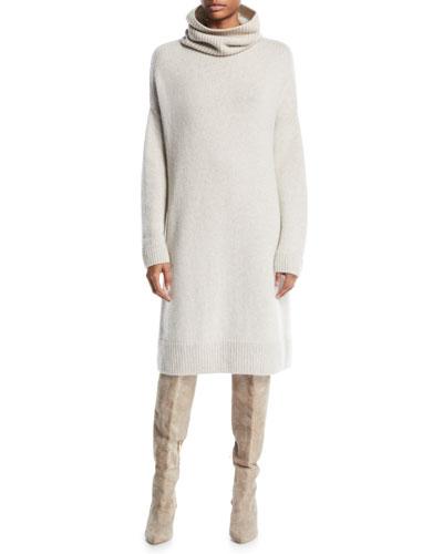 Darlington Turtleneck Long-Sleeve Shift Cashmere Dress