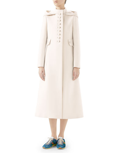 Gardenia Long Hooded Wool Coat