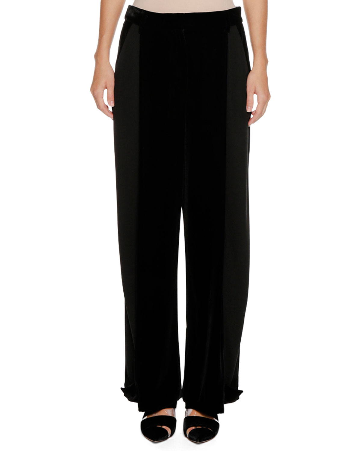 Wide-Leg Velvet and Cady Trousers