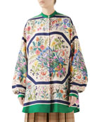 Gucci Festival Floral-Print Silk Twill Guru Shirt and