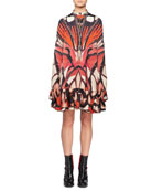 Alexander McQueen Long-Sleeve Painted Lady Butterfly Print Silk
