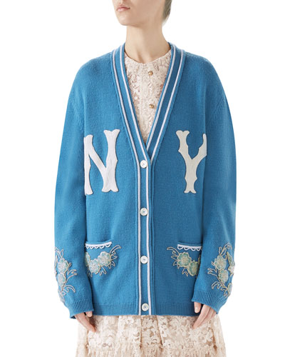 NY Yankees MLB V-Neck Wool Cardigan with Flower Appliques