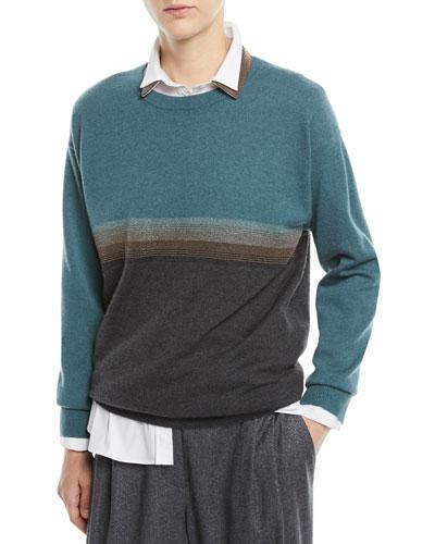 Crewneck Bicolor Horizontal-Stripe 2-Ply Cashmere Sweater