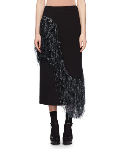 Wave-Raffia Fringe Wool-Blend Midi Pencil Skirt