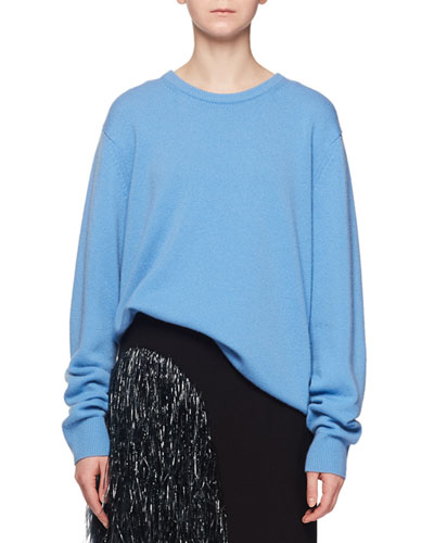 Crewneck Long-Sleeve Cashmere Oversize Pullover Sweater